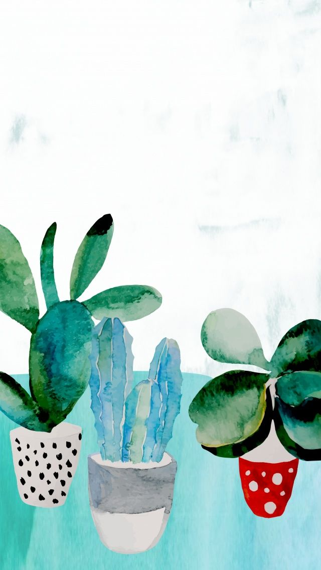 Watercolor painting Cactus. Tap to see more Beautiful Illustration iPhone Wallpapers and Lockscreen background! - @mobile9