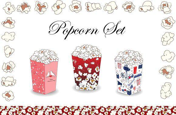 Popcorn Set : Vector Collection  @creativework247