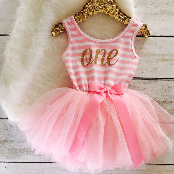 Pink and Gold First Birthday Outfit Tutu Dress Gold by susuLEMON