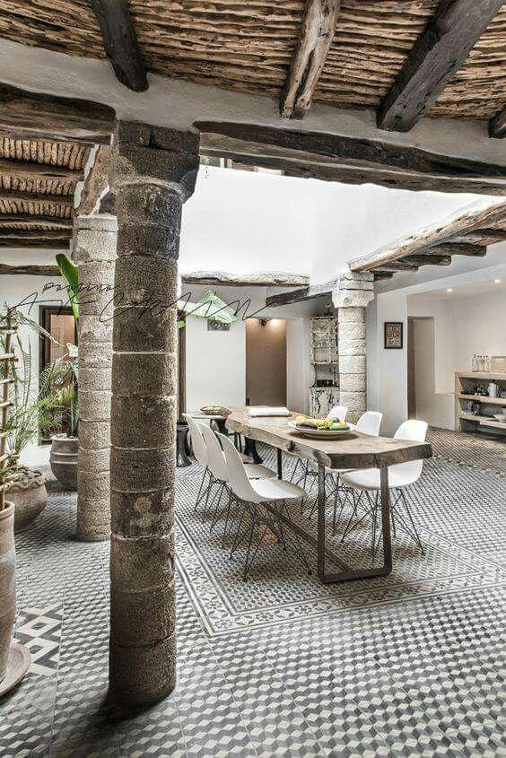 Hof, Esszimmer, Seiten Stühle, Leben Unter Freiem Himmel, Wohnen Im Freien,  Säulen, Landschaftsbau, Marokko, Außen Häuser