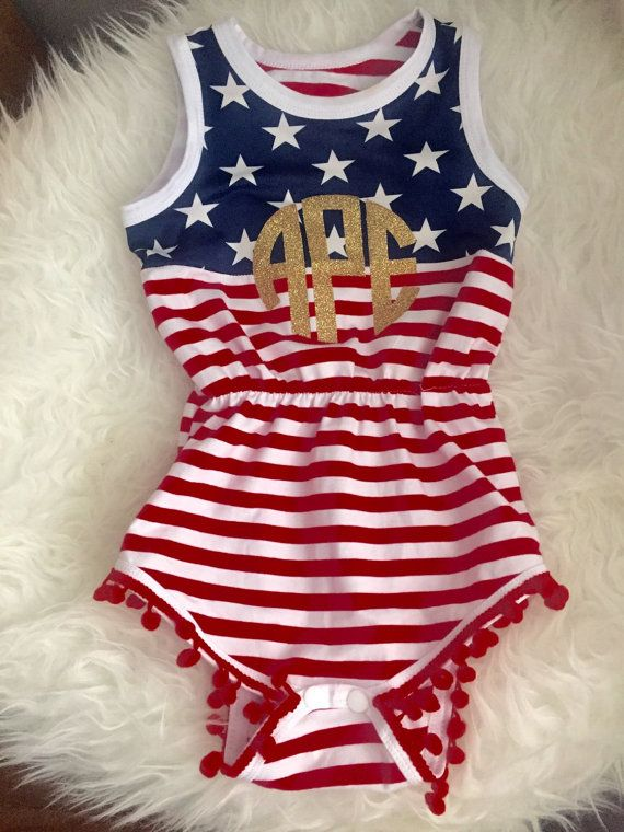 July 4th Baby Romper || AMERICA romper || monogrammed patriotic clothing