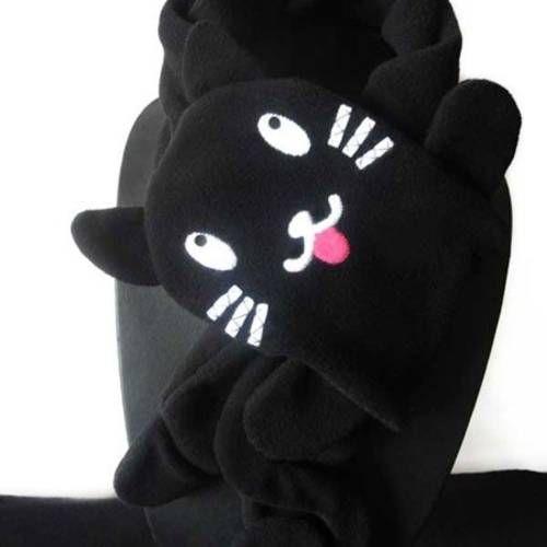 Echarpe laine polaire chat noir (taille enfant)