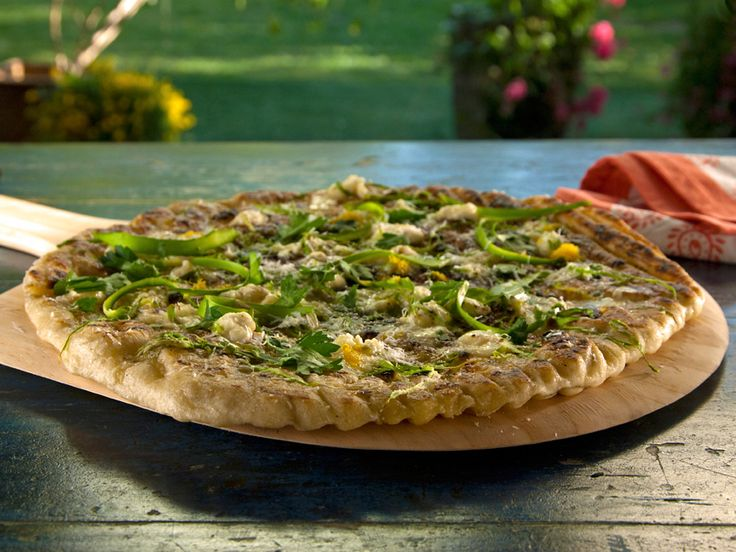 Pizza with Shaved Asparagus and Robiola from FoodNetwork.com: Food Network, Bobby Flay S, Foodnetwork Com, Bobbyflay, Pizza Dough, Grilled Pizza, Robiola Recipe