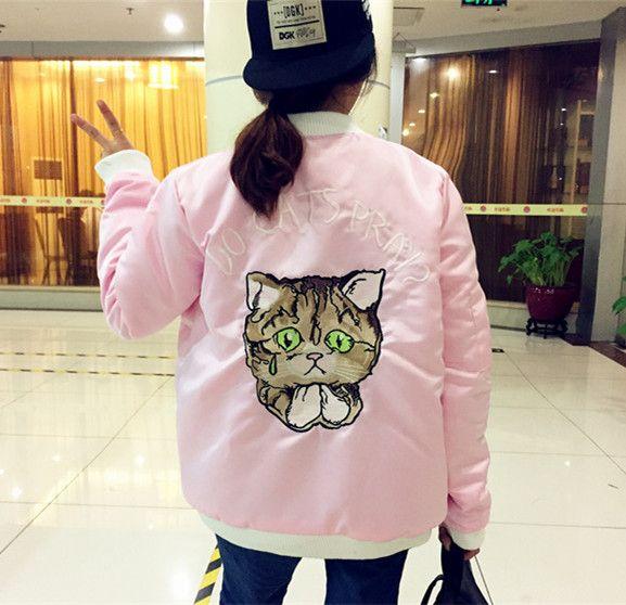 2016 frühling Rosa Bomberjacke Frauen Harajuku Katze Stickerei Baseball Jacke Baumwolle Oberbekleidung chaqueta mujer in             aus Grund Jacken auf AliExpress.com   Alibaba Group