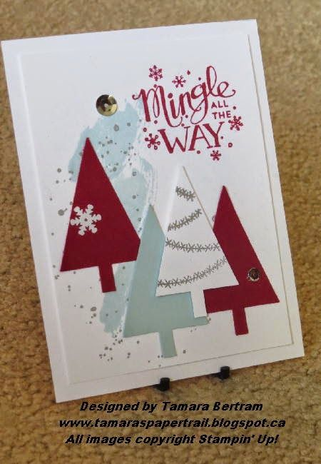 Handmade Cards; Handmade Christmas Cards; Festival of Trees; Mingle All The Way; stamping' Up!; Tamara's Paper Trail