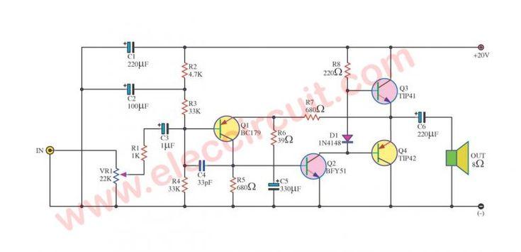 simple audio amplifier circuit diagram using transistor ...