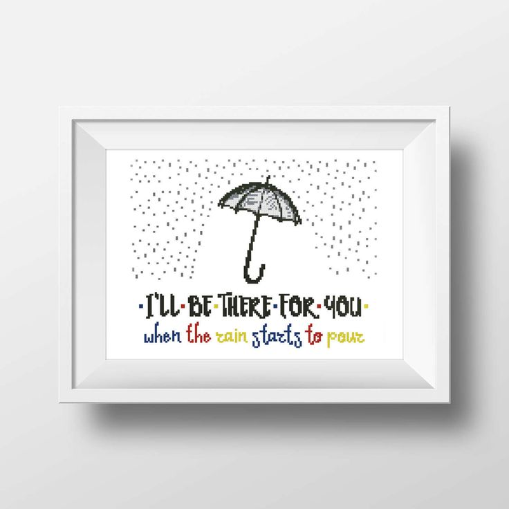 """FRIEND Quote """"I'll be there for You…"""", Umbrella, rain, song, TV Show, Series - Cross-stitch PDF pattern - Instant digital download by Up2XStitch on Etsy"""