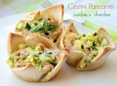 Cestini pancarre ripieni con zucchine e stracchino croccanti,gustosi,facili e veloci. Ricetta con zucchine e stracchino innovativa dal sapore ben combinato