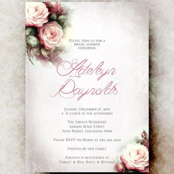 bridal shower invitation printable vintage by divinegivedigital - Vintage Wedding Shower Invitations