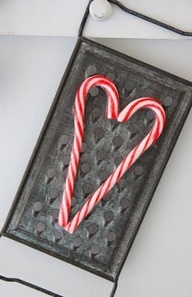 Country Christmas Craft Candy Cane Heart