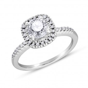 Halo Collection, 14k White Gold I2+ Diamond Ring, 1 1/5 ctw
