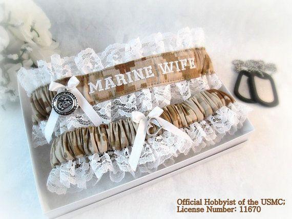 Military Wedding Garter set - Marine Corps Bridal Garters - Marine Corps Personalized Garters.