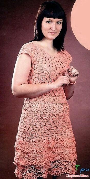 кружевное платье для летнего сезона вязаное крючком сверху вниз
