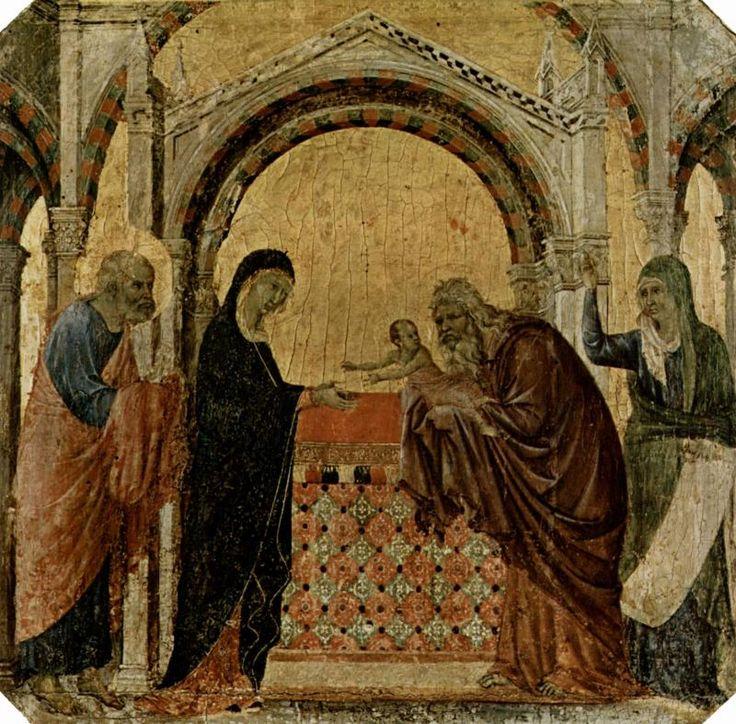 Маэста, алтарь сиенского кафедрального собора, передняя сторона, пределла со сценами из детства Иисуса и пророками, Сретение Дуччо ди Буонинсенья