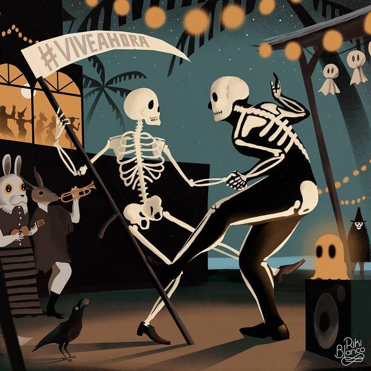 """Ilustración promocional para Ron Barceló, a propósito del día de los muertos.  La premisa era integrar su hashtag """"Vive Ahora"""", así que se me ocurrió darle un sentido absolutamente literal: Vive Ahora, tu que puedes, querido mortal.  El cuervo sostiene una castaña en su pico. No aparece ninguna calabaza."""