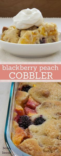 Blackberry Peach Cobbler features plenty of fresh peaches and blackberries topped with a nutty topping. A summertime favorite! ~ http://www.bakeorbreak.com