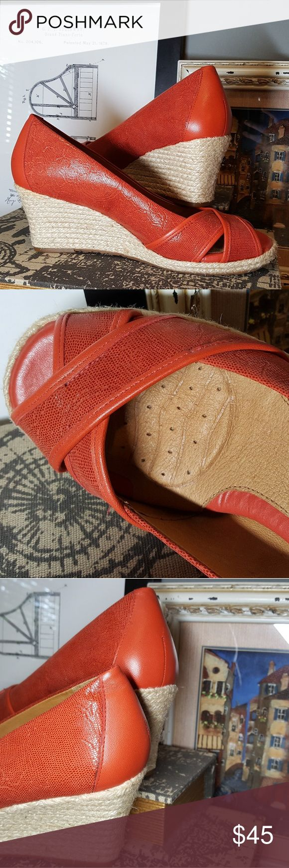 "Nurture Fire Orange 3"" Super Comfy Espadrilles Don't let these pass you by! Fire orange espadrilles by Nurture. These beautes have a cushioned, supportive, textured  sole that is heaven to wear. Look at the pics to see it! They are in excellent condition (reposh). I have never worn them, as they are too small for me.   Real leather, with subtle patent texturing and floral embossing. Gorgeous, and great for Fall.   No smoke, no pets!! Offer me some dollars and get the most comfortable pair of…"