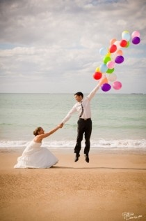 Beach Wedding Ideas- love this photo. A splash of color and fun.