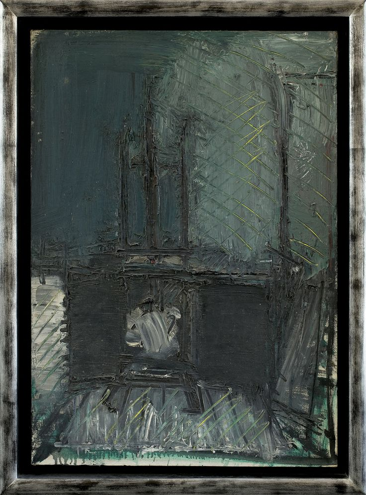 Jacek Sienicki | <i>WNĘTRZE ZE SZTALUGĄ, 1973</i> | olej, płótno | 101 x 71 cm