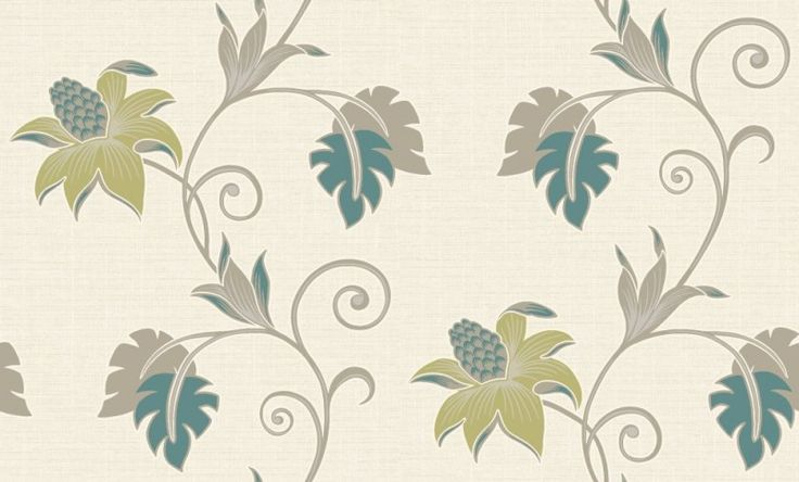 Dominica  (75642) - Albany Wallpapers - An all over wallpaper design featuring an exotic floral trail. Shown here in various shades of teal, green and taupe on a cream background with silver glitter detailing. Other colourways are available. Please request a sample for a true colour match.