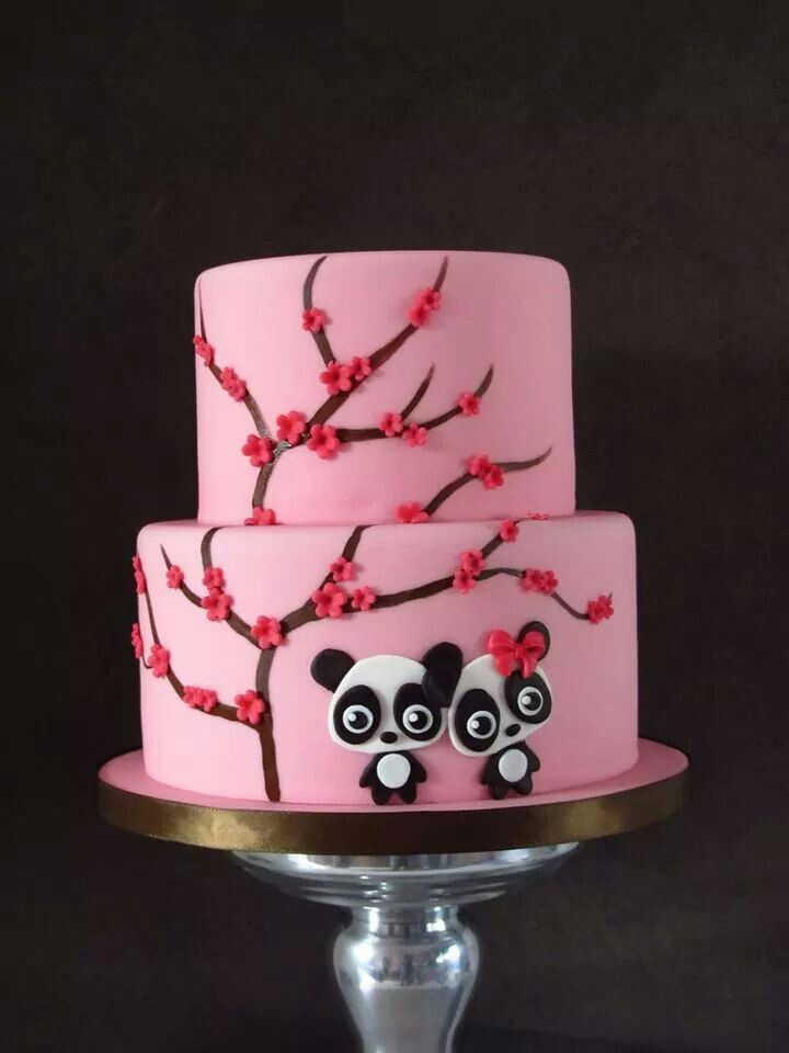 Apple blossoms cake with panda bears