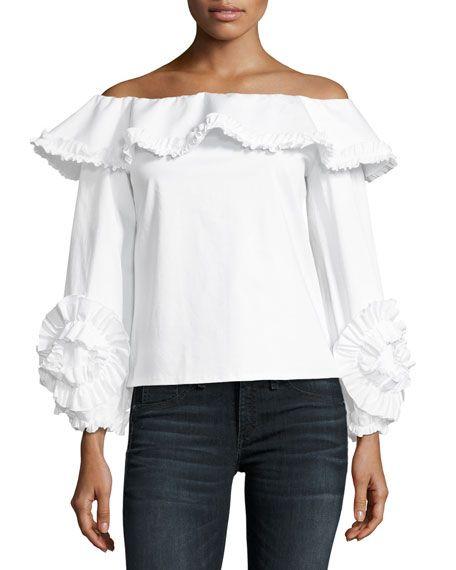 e3ba9a00997b40 ALEXIS Regine Off-The-Shoulder Ruffled Top, White. #alexis #cloth ...
