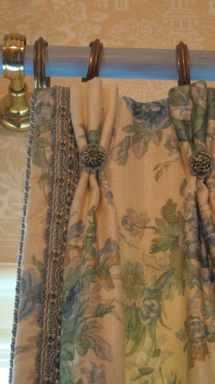 I love designing draperies!!  English Floral Linen with Custom Braid, Cord, Rosettes & French Hardware www.lindafloyd.com