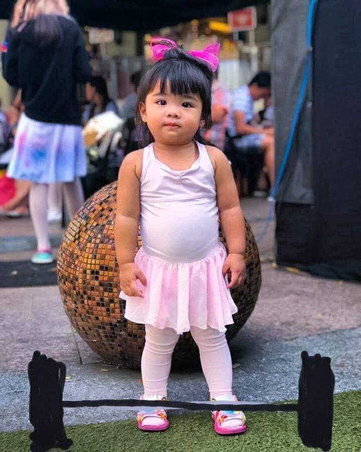 So my sister edited this picture of her daughter #2 after I said she has my man shoulders and sports will be in her future.  This made my day.  Her name is Angela Georgette we call her Geo. Sometimes spanky Geo. #family #weightlifting #girlswholift #balletbaby