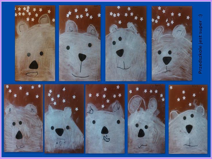 Niedźwiedzie polarne - 3-latki, rysowanie kredą. Monika Iwańska