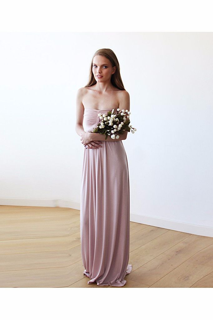 Strapless Maxi Blush Pink Bridesmaids Gown LAVELIQ