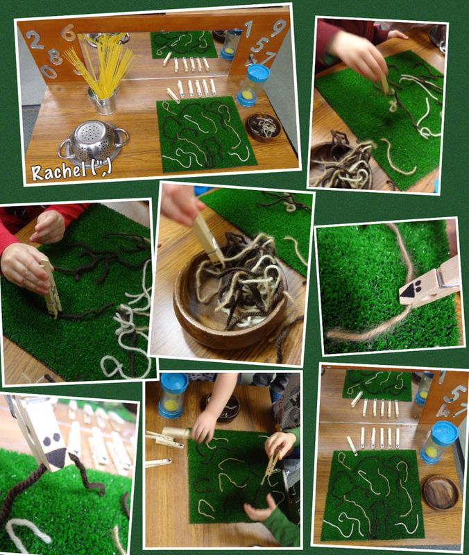 """Picking up 'worms' with peg 'beaks'. Beat the timer! - from Rachel ("""",)"""