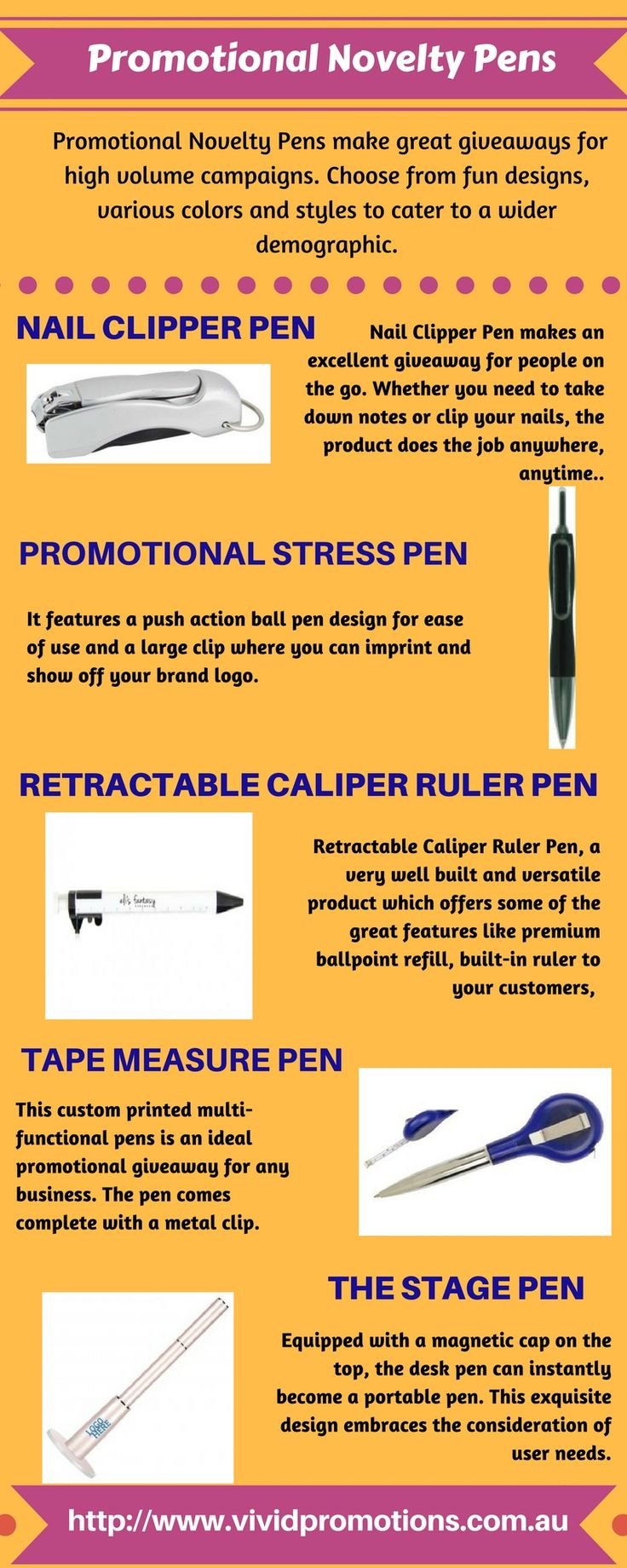 If you are thinking to promote your brand in unique way, have a look at this infographic of custom printed Novelty Pens! These promotional Novely Pens make great giveaways for high volume campaigns. #PromotionalNoveltyPens #PrintedNoveltyPens #CustomprintedPens #EngravedNoveltyPens #PromotionalProducts #VividPromotions