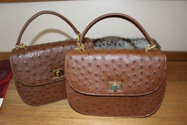 Nikkie -  Noble Stone, Genuine African Ostrich Leather Handbag.
