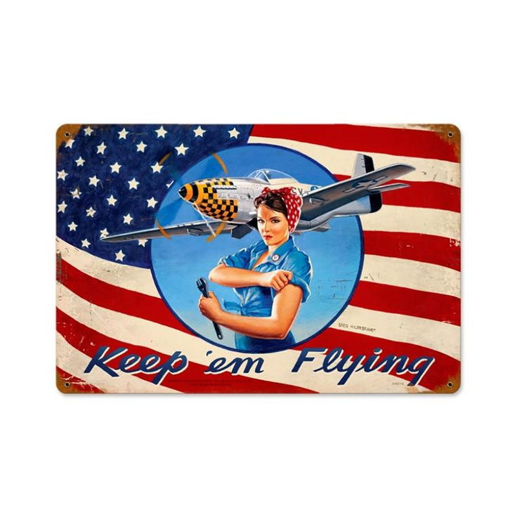 Rosie Riveter P-51 Mustang Metal Sign | Vintage WWII Signs | RetroPlanet.com Based on an original Greg Hildebrandt painting, this Rosie Mustang Tin Sign gives retro enthusiasts a fun twist on a classic design. Rosie the Riveter, symbol of American determination, rolls up her sleeves in preparation to work on a vintage P-51 Mustang fighter, one of the best World War II-era combat planes