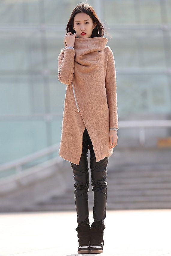 winter jackets for women brown wool coat-CF042