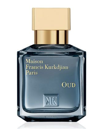 Oud, 70mL by Maison Francis Kurkdjian @ #NeimanMarcus.  Bottle is capped with a golden dome. It belongs to a marble palace engraved with gold, set under dark-blue star-studded night.  It is set in an exquisite box embossed with gold and protected with a sleeve that is hot stamped in gold, like a projecting Arabian latticed window open to all the paths to sensuality.  Olfactive family: Oriental  Saffron, elemi gum, oud from Laos, cedar wood from the Atlas mountains, and Indonesian patchouli.