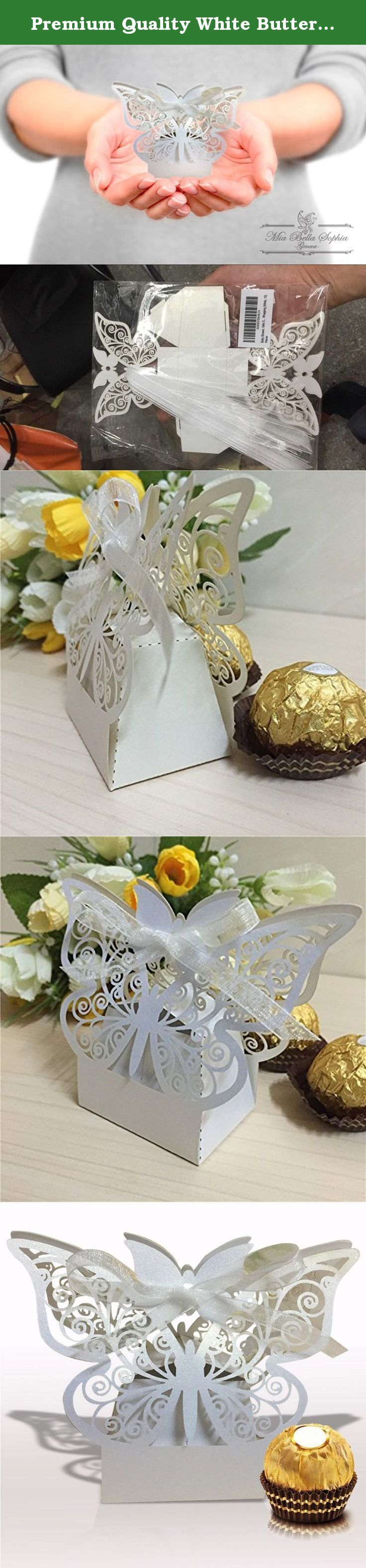 """Premium Quality White Butterfly Premise Candy Box, 10 pieces, SMALL (2.1x1.7x1.6"""") for an Elegant Presentation for Tea parties, bridal or wedding shower, wedding favor, girls birthdays and Christmas. ROCK-SOLID 90 DAY MONEY BACK GUARANTEE You'll love MiaBelllaSophia's gift boxes or your money back, giving you every reason to Add them to Cart before they return to Back Order Status Now ."""