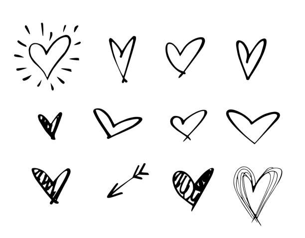 Set Of Outline Hand Drawn Heart Icon Hand Drawn Doodle Grunge Heart How To Draw Hands Heart Hands Drawing Hand Doodles