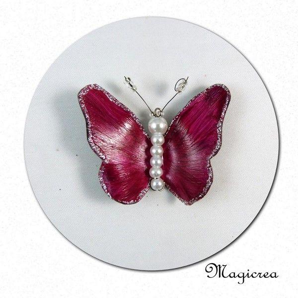 PENDENTIF PAPILLON VINYLE FUCHSIA ET ARGENTE - Boutique www.magicreation.fr