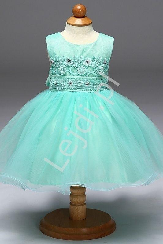 6915d9423d Turkusowa tiulowa sukienka z koronkową górą