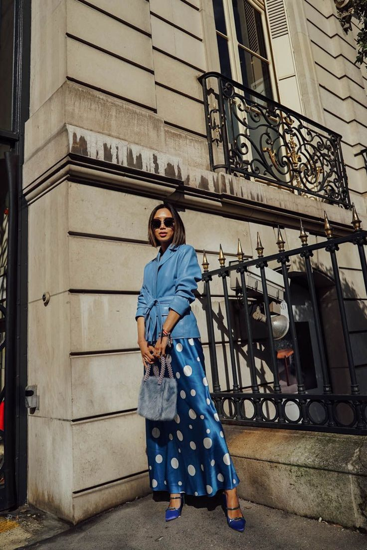 Feeling Blue at PFW: Racil Polka Dot Dress with Malone Souliers Shoes | Song of Style Street style, street fashion, best street style, OOTD, OOTD Inspo, street style stalking, outfit ideas, what to wear now, Fashion Bloggers, Style, Seasonal Style, Outfit Inspiration, Trends, Looks, Outfits.