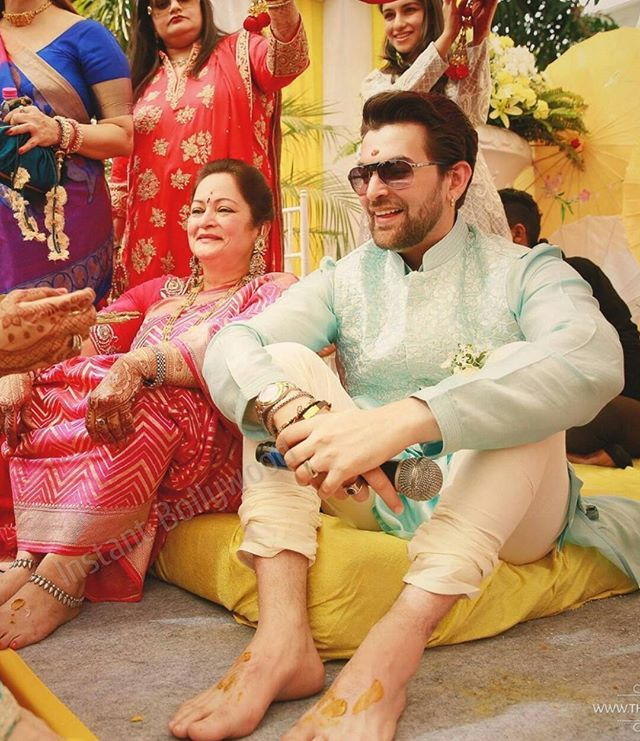 A visibly happy groom Neil Nitin Mukesh during his हल्दी ceremony! .  - The Wedding Story . #bollywood #neilnitinmukesh #rukminisahay