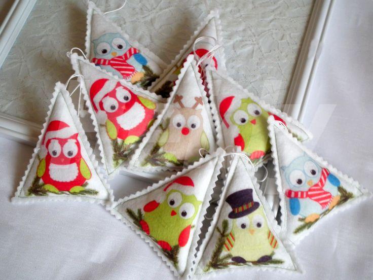 Bagoly mintás dekorfilc karácsonyi díszek