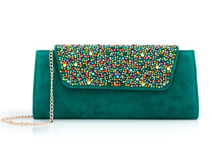 Green bag with Swarovski elements :: IL PASSO