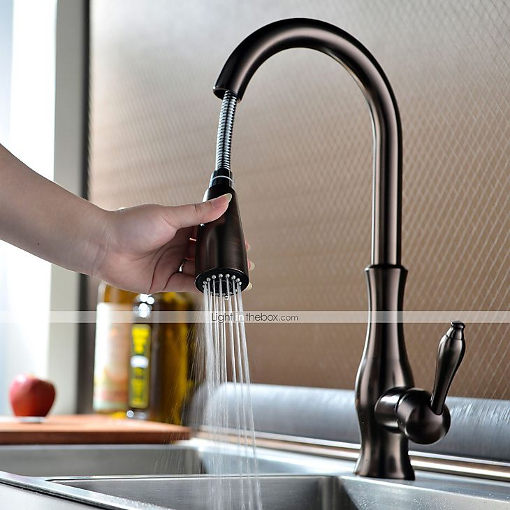 Kitchen Faucet One Hole Oil Rubbed Bronze Pull Out Pull Down