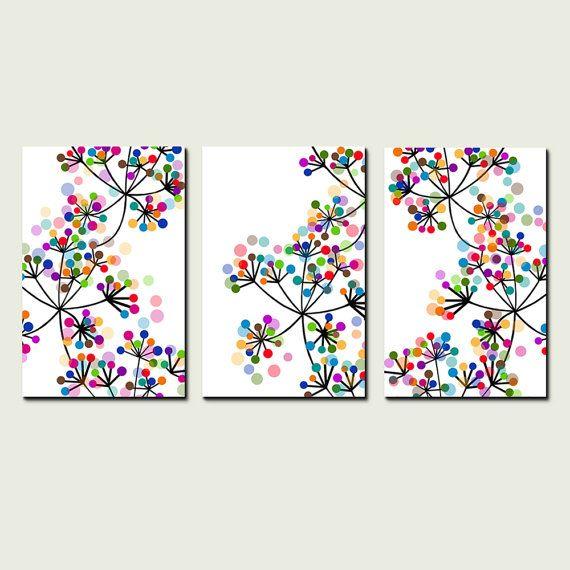 Modernes Dekor Schwarz bunte Punkte botanische Trio Set von