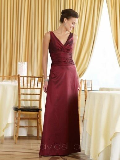 Sheath V-neck Long Taffeta Bridesmaid Dress