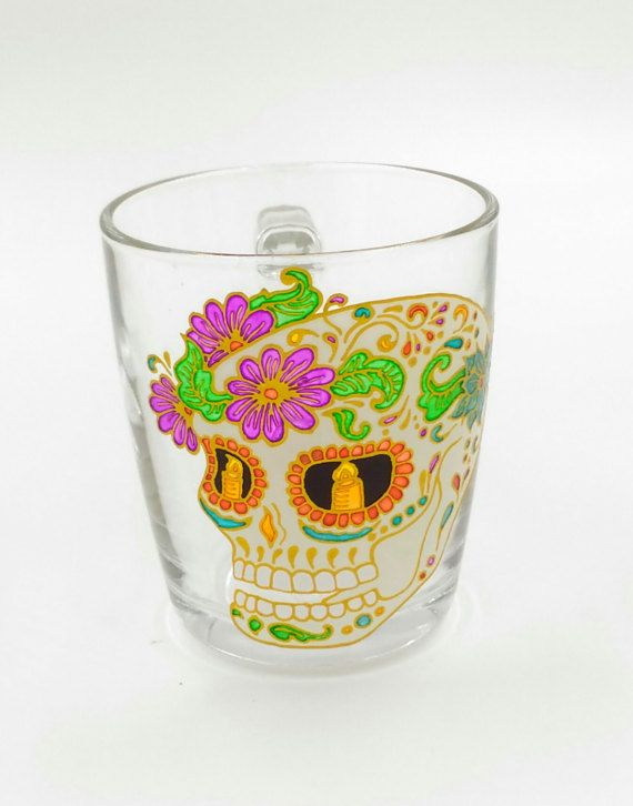 Skull with Flowers Mug Hand Painted Gift Coffee Tea