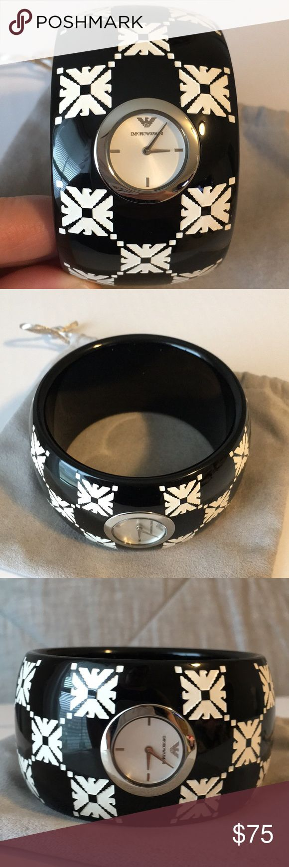 Emporio Armani  Watch Emporio Armani black and white bangle watch. NWOT, needs new battery Emporio Armani Accessories Watches