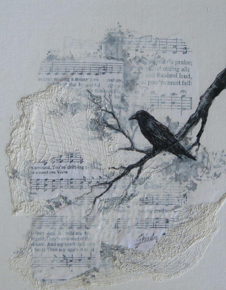 Le Corbeau Corneille chanson originale mixte peinture par gristello